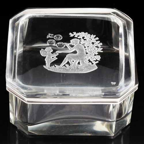 c.1930s Hoffmann Crystal Box & Etched Figural Cover, Silver Mount