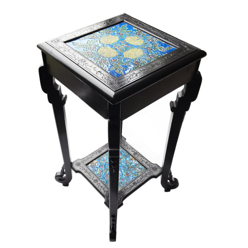 c.1900 Aesthetic Movement Chinoiserie Ebonised Stand with Longwy France Tiles