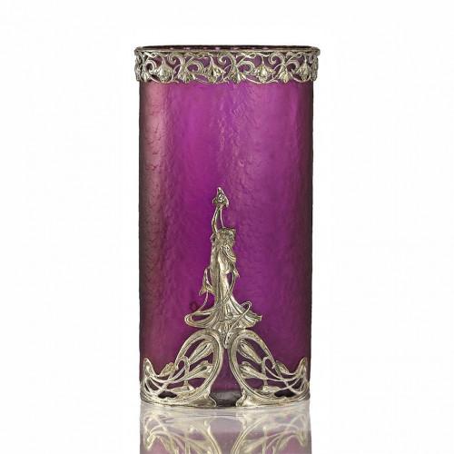 c.1900 Legras Amethyst Glass Vase with Plated Art Nouveau Mounts