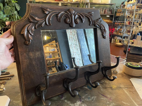 Mid-Century Mirror w Hooks