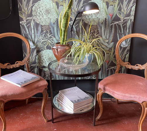 Glass/Mirrored Round Side Tables (PAIR)
