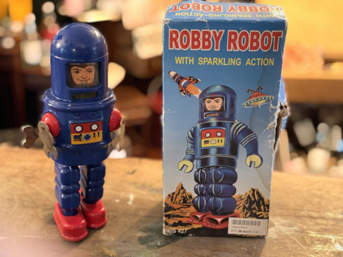 Robby Robot Wind-Up Toy w Sparkling Action