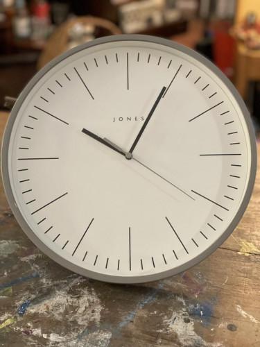 Clock White Face Grey Frame