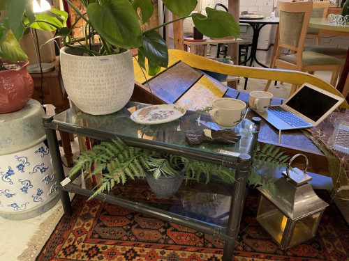 Black Bamboo and Glass Coffee Table