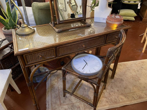 Bamboo Caned Glass Top Dressing Table