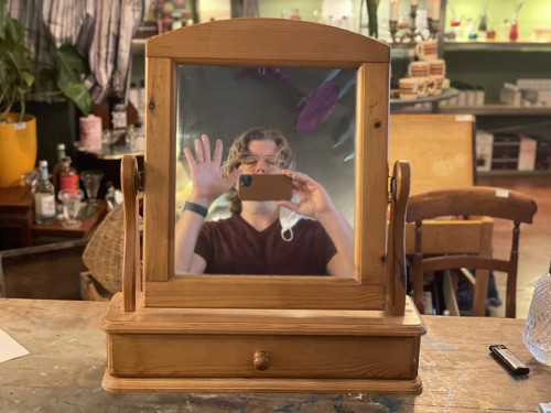 Pine Dressing Table Mirror w Littel Drawer
