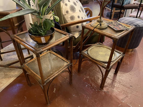 Pair of Bamboo Caned Glass Top Side Tables