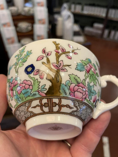 Bone China Indian Tree Cups Saucers (Set of 7)