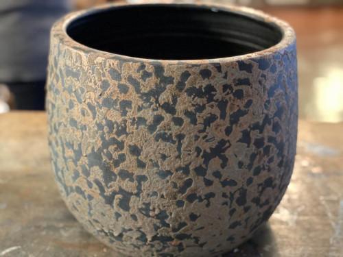 Large Metallic Distressed Pot
