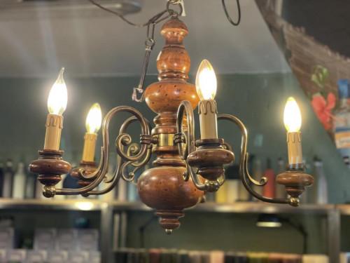 Electric Dark Wood Chandelier