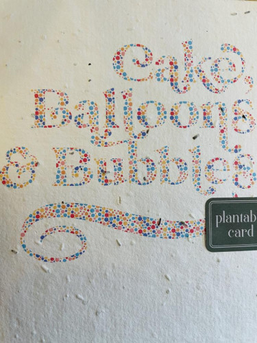 Plantable Seed Card Cake, Balloons & Bubbles