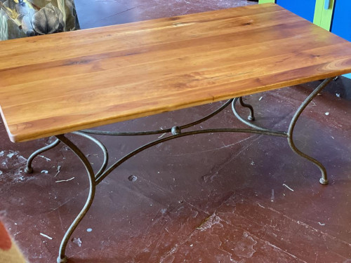 French Wood Top Iron Base Coffee Table