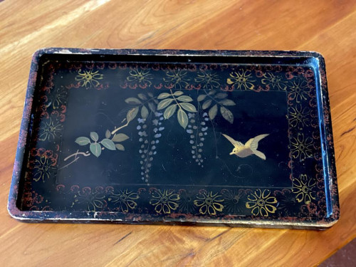 Chinese Lacquered Bird Tray