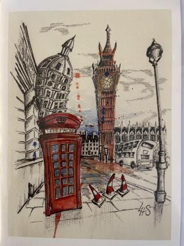 Wonky Art Greeting Card Big Ben