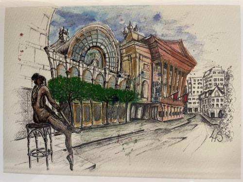 Wonky Art Greeting Card Royal Opera House (ROH)