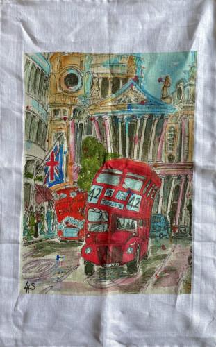 Wonky Art Linen Tea Towel