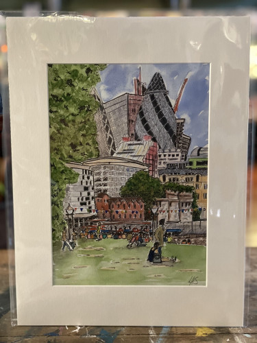 Wonky Art Print on Mount Board View from Potter's Fields