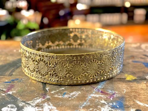 Round Gilt Metal Napkin Trinket Tray