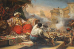 OIL ON CANVAS ORIENTALIST PAINTING DEPICTS THE MASSACRE OF THE MAMELUKES, AFTER HORACE VERNET, ENGLISH SCHOOL, 19TH CENTURY