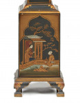 GREEN GROUND CHINOISERIE LACQUERED AND GILT DECORATED SMALL LONGCASE TIMEPIECE