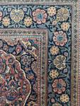 BURGUNDY GROUND PERSIAN KASHAN RUG IN FLORAL DESIGN