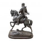CAVALIER ARABE BRONZE SPELTER STATUE, BY EMILE GUILLEMIN AND ALFRED BARYE, FRENCH, 19TH CENTURY