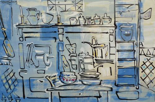 La cuisine de Françoise, huile sur toile, 60cm x 80cm.