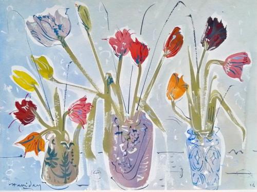 Tulips in three pots