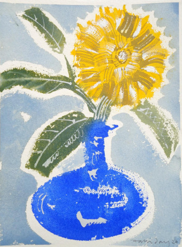 Sunflower in Bristol Blue Vase, I
