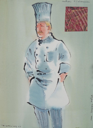 Savoy Hotel Staff 2003 Anton Edelman (two paintings)