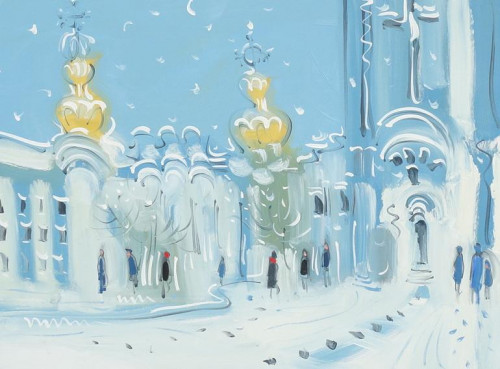 Smolny Cathedral, St. Petersburg, snow.