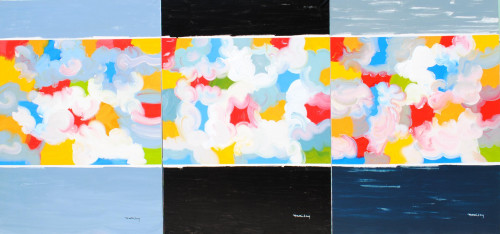 Clouds Tryptich  3.5m wide x 1.46m high