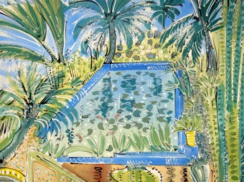 Reflecting pond and palms, Jardin Majorelle, Villa Oasis