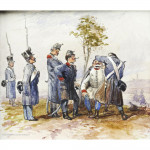 Pair of Watercolours Austrian Soldiers
