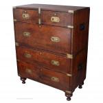 Small Ash & Oak  Brass Bound Antique Campaign Chest