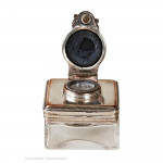 Silver Plate Topped Travel Inkwell