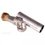 Silver Portable Shaving Brush