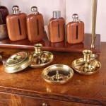Cast Brass Brighton Bun Travel Candlesticks