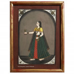 Indian Gouache on paper of a Serving Girl