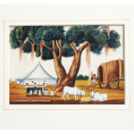 Company School Painting of a Palanquin & Bullocks Resting At Camp