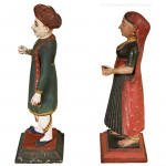 Pair of Painted Wooden Indian Figures