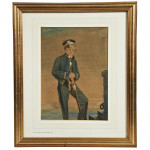 Watercolour Naval Portrait of a Young Cadet