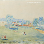 An Extensive Panorama View Of A British Military Encampment And Small Fortified Coastline Town watercolour