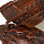 Carved Coquilla Ship Snuff Box