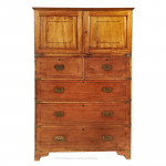 Chinese Export Campaign Chest with Cupboard