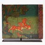 A rare pair of Tibetan painted shrine doors