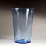 A sapphire blue glass bucket vase.
