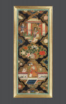 A pair of early 18th century painted leather panels