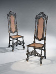 A rare set of four late 17th century William & Mary high back chairs