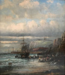 British marine scene with fishing vessels by the shore line